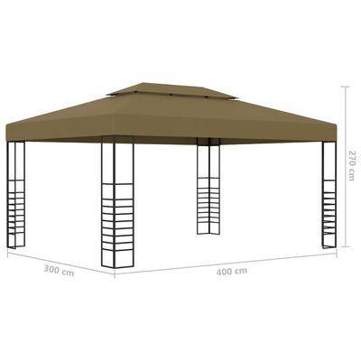 vidaXL Pavilion cu șiruri de lumini, gri taupe, 3x4m, 180 g/m²