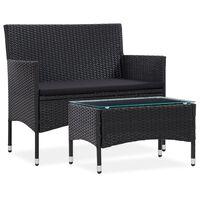 vidaXL Set mobilier de grădină cu pernă, 2 piese, negru, poliratan