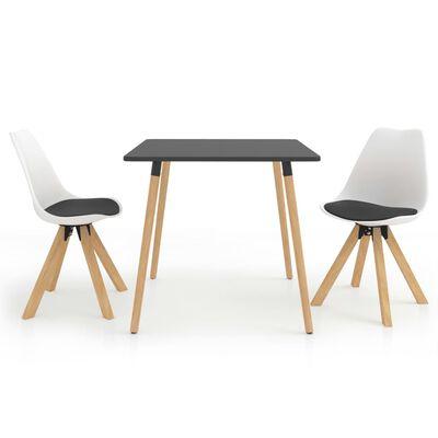 vidaXL Set de masă, 3 piese, negru și alb