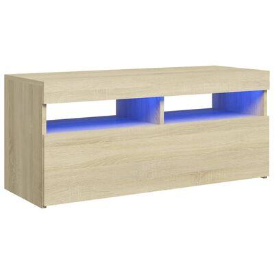 vidaXL Comodă TV cu lumini LED, stejar sonoma, 90x35x40 cm