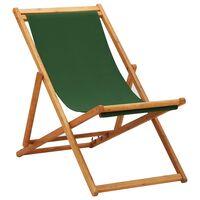 vidaXL Scaun de plajă pliabil, verde, lemn de eucalipt și țesătură