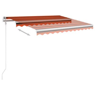 vidaXL Copertină retractabilă manual cu LED, portocaliu&maro 3,5x2,5 m
