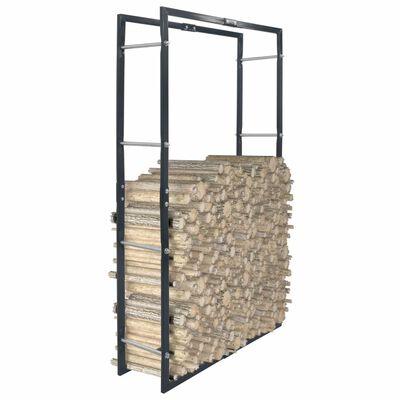 vidaXL Rastel pentru lemne de foc, negru, 80x25x150 cm, oțel