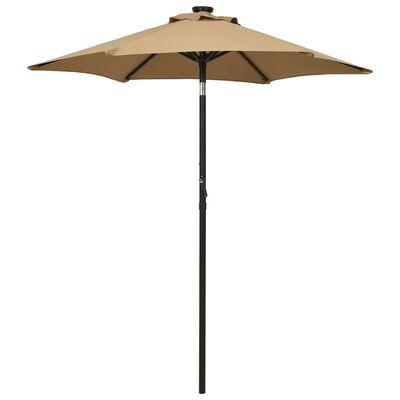 vidaXL Umbrelă de soare cu lumini LED, gri taupe, 200x211 cm, aluminiu