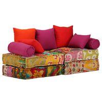 vidaXL Canapea puf modulară cu 2 locuri, petice, material textil