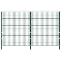 vidaXL Panou de gard cu stâlpi, verde, 3,4 x 2 m, fier