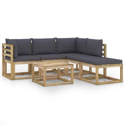 vidaXL Set mobilier de grădină cu perne antracit, 6 piese