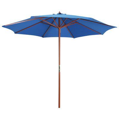 vidaXL Umbrelă de soare cu stâlp din lemn, albastru, 300 x 258 cm