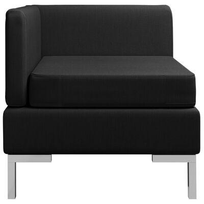 vidaXL Canapea de colț modulară cu pernă, negru, material textil