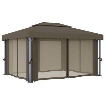 vidaXL Pavilion cu perdea & șir de lumini, gri taupe, 4x3 m, aluminiu, Taupe