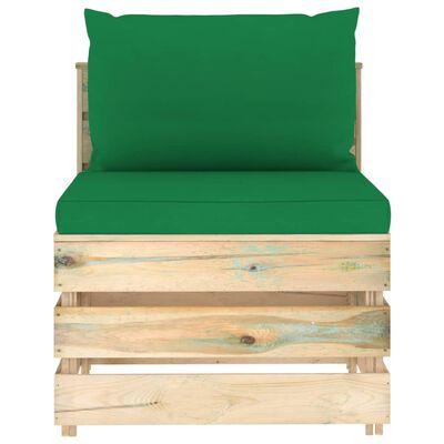 vidaXL Set mobilier de grădină cu perne, 6 piese, lemn verde tratat