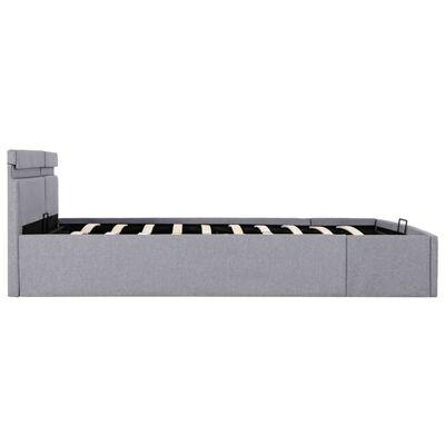 vidaXL Cadru pat hidraulic cu ladă LED gri deschis 160x200 cm, textil