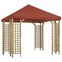 vidaXL Pavilion, cărămiziu, 3 x 3 m (310032 + 46622)