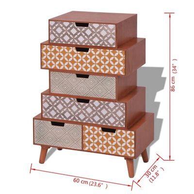 vidaXL Dulap lateral cu 6 sertare, maro