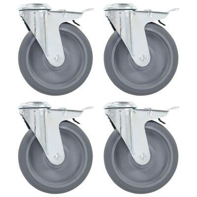 vidaXL Roți pivotante cu gaură pentru șurub, 16 buc., 125 mm
