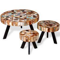 vidaXL Set măsuțe de cafea, 3 buc., lemn masiv reciclat