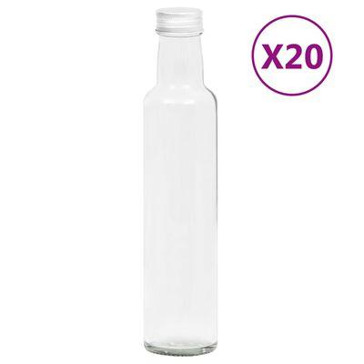 vidaXL Sticle mici, capace cu filet, 20 buc., 260 ml
