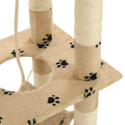 vidaXL Ansamblu pisici, stâlpi funie sisal 140 cm imprimeu lăbuțe, bej