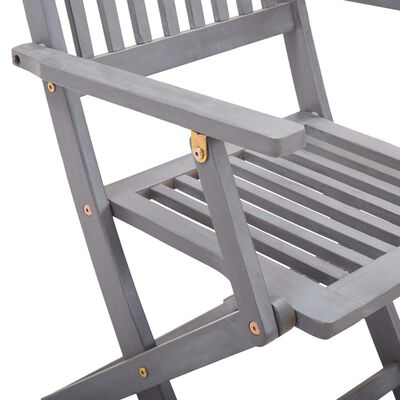 vidaXL Scaune pliabile de exterior, cu perne, 2 buc., lemn masiv acacia