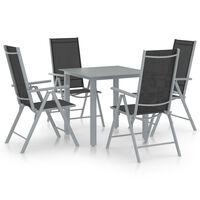 vidaXL Set mobilier de grădină, 5 piese, argintiu și negru, aluminiu