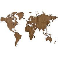 MiMi Innovations Decor perete harta lumii Exclusive, 130x78 cm, nuc