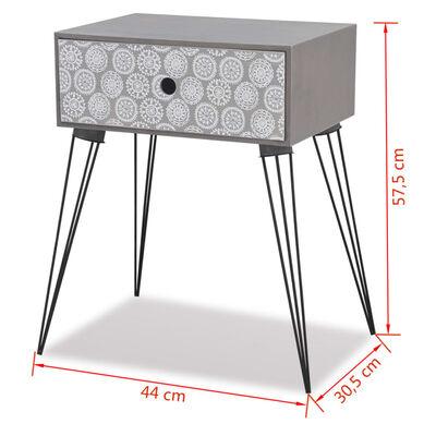 vidaXL Noptieră cu 1 sertar, dreptunghiulară, gri