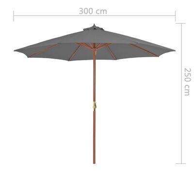 vidaXL Umbrelă de soare de exterior, stâlp din lemn, 300 cm, antracit
