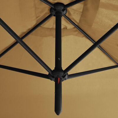 vidaXL Umbrelă de soare dublă cu stâlp din oțel, gri taupe, 600x300 cm