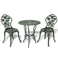 vidaXL Set mobilier bistro, 3 piese, verde, aluminiu turnat