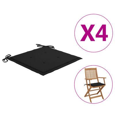 vidaXL Perne scaun de grădină, 4 buc., negru, 40x40x4 cm