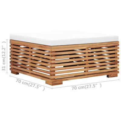 vidaXL Set masă și taburet de grădină cu pernă crem, lemn masiv de tec