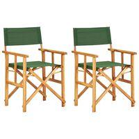 vidaXL Scaune de regizor, 2 buc., verde, lemn masiv de acacia