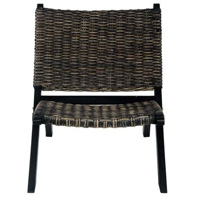 vidaXL Scaun relaxare negru& natural ratan kubu & lemn masiv de mahon