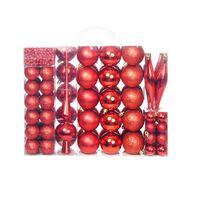 vidaXL Set globuri de Crăciun 113 piese, 6 cm Roșu