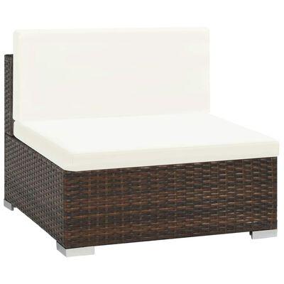 vidaXL Set mobilier de grădină cu perne, 7 piese, maro, poliratan