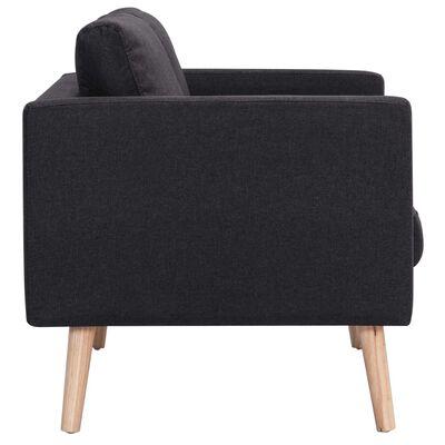 vidaXL Canapea cu 2 locuri, negru, material textil