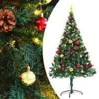 vidaXL Pom de Crăciun artificial decorat globuri și LED 150cm verde