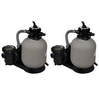 vidaXL Pompe filtru cu nisip, 2 buc., 600 W, 17000 l/h