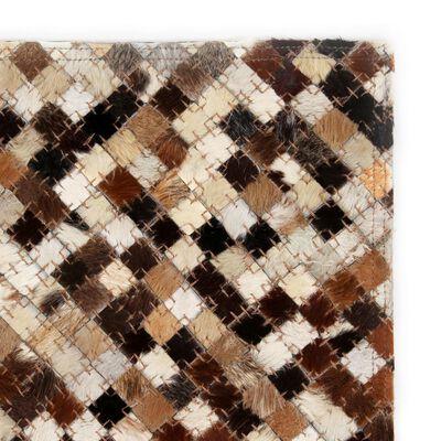 vidaXL Covor piele naturală, mozaic, 80x150 cm, pătrat, maro/alb