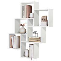FMD Raft de perete cu 8 compartimentele, alb