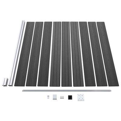 vidaXL Set de panouri de gard, negru, 353 x 186 cm, WPC