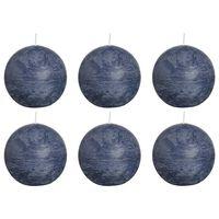 Bolsius Lumânări bilă rustice 6 buc., 80 mm, albastru închis
