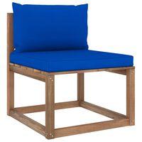 vidaXL Canapea de grădină din paleți, de mijloc, cu perne albastre