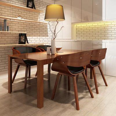 vidaXL Scaune de bucătărie 4 buc., maro, lemn curbat & piele ecologică