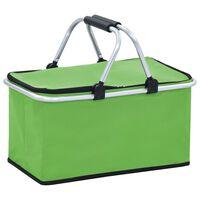 vidaXL Geantă frigorifică pliabilă, verde, 46 x 27 x 23 cm, aluminiu