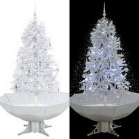 vidaXL Brad de Crăciun cu ninsoare și bază umbrelă, alb, 170 cm