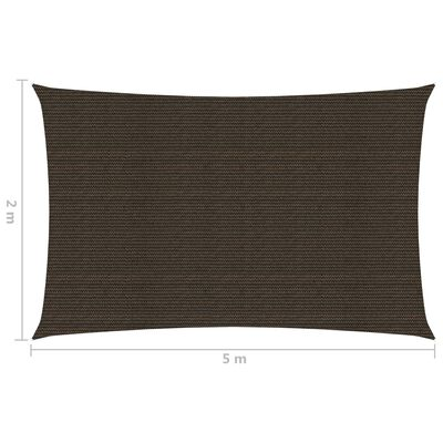 vidaXL Pânză parasolar, maro, 2 x 5 m, HDPE, 160 g/m²