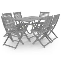 vidaXL Set mobilier de grădină, 7 piese, gri, lemn masiv de acacia