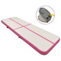 vidaXL Saltea gimnastică gonflabilă cu pompă roz 500x100x15 cm PVC