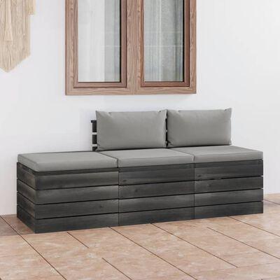 vidaXL Set mobilier grădină din paleți, 3 piese, cu perne, lemn de pin